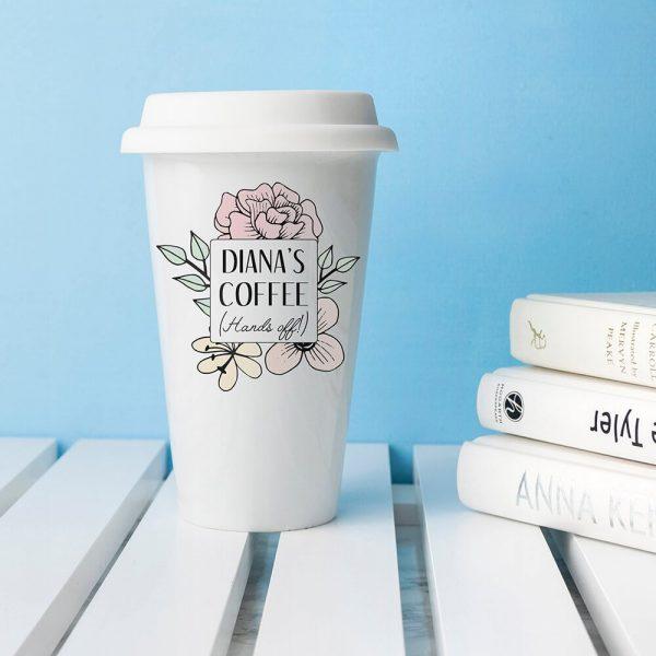 Personalised Hands Off Ceramic Travel Mug