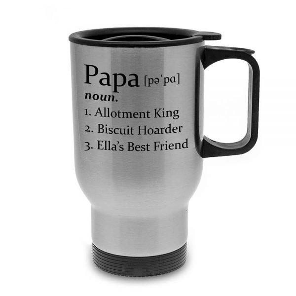 Personalised Definition of Dad Silver Travel Mug