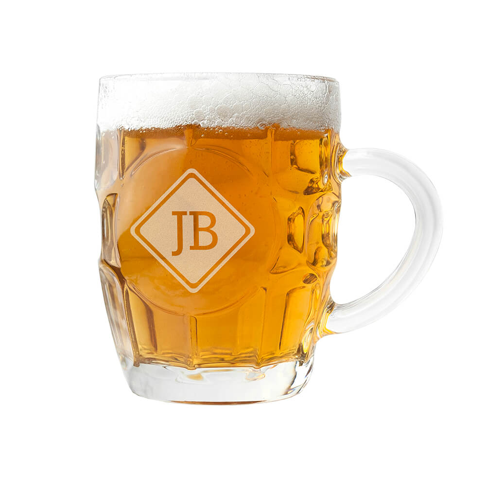 Personalised Beer Glass (Dimple) – Initials
