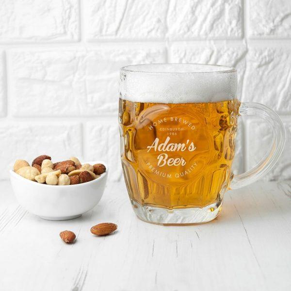 Personalised Beer Glass (Dimple) – Home Brewed