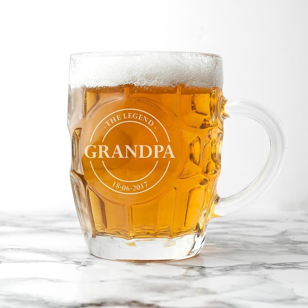 Personalised Beer Glass (Dimple) – Your Message