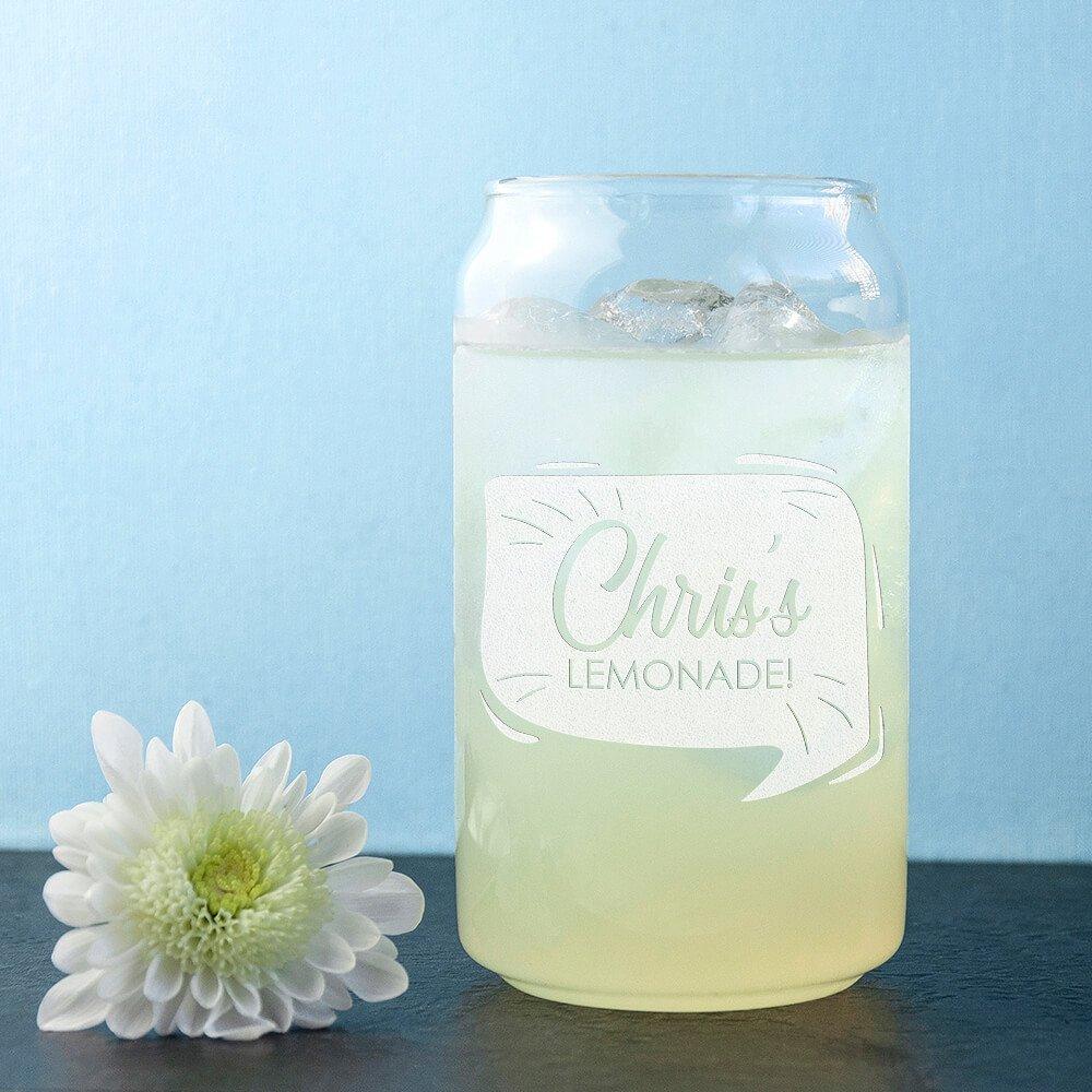 Personalised Glass Can – Lemonade