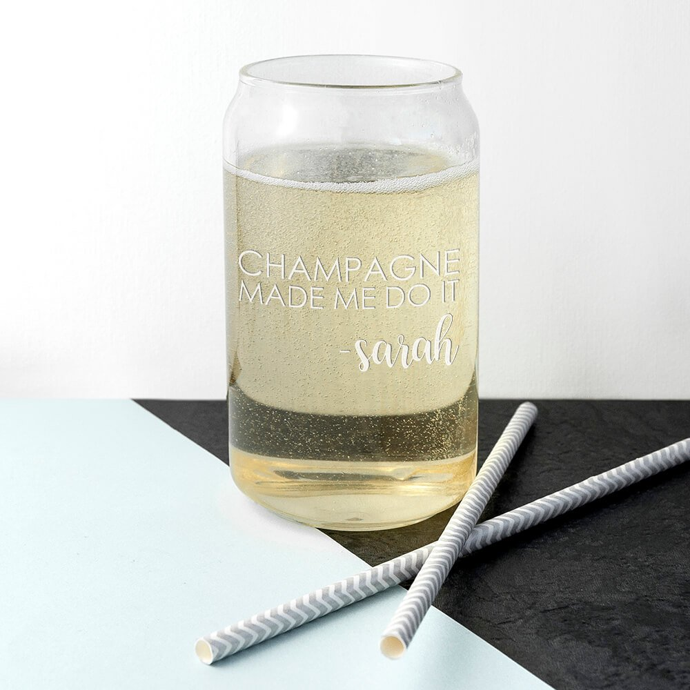 Personalised Glass Can – Made Me Do It