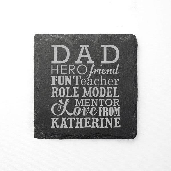 Personalised Slate Coaster – Dad