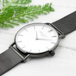 Personalised Mens Metallic Charcoal Watch (White Face) – Your Message