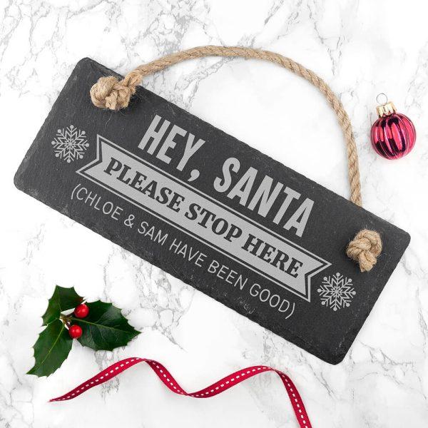 Personalised Hanging Slate Sign – Hey Santa