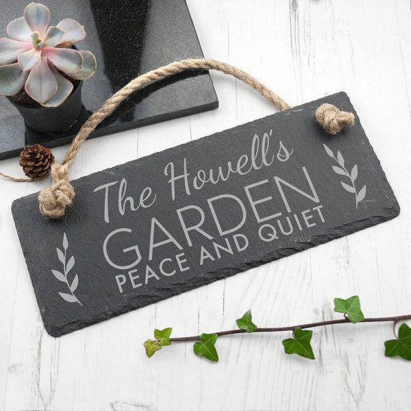 Personalised Hanging Slate Sign – Our Garden