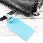 Personalised Leather Luggage Tag – Light Blue