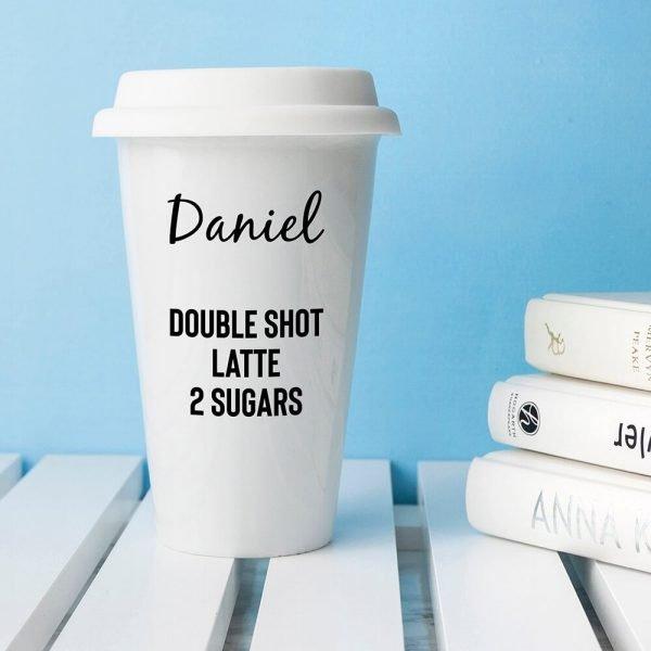 Personalised Name and Order Ceramic Travel Mug