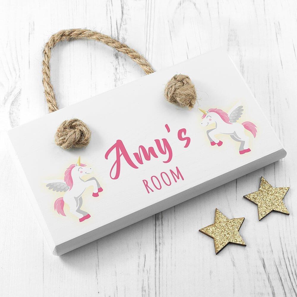 Personalised Wooden Door Sign – Baby Unicorn