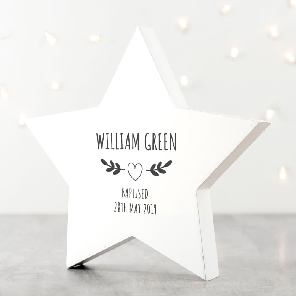 Personalised Keepsake Box – Christening Wreath Star