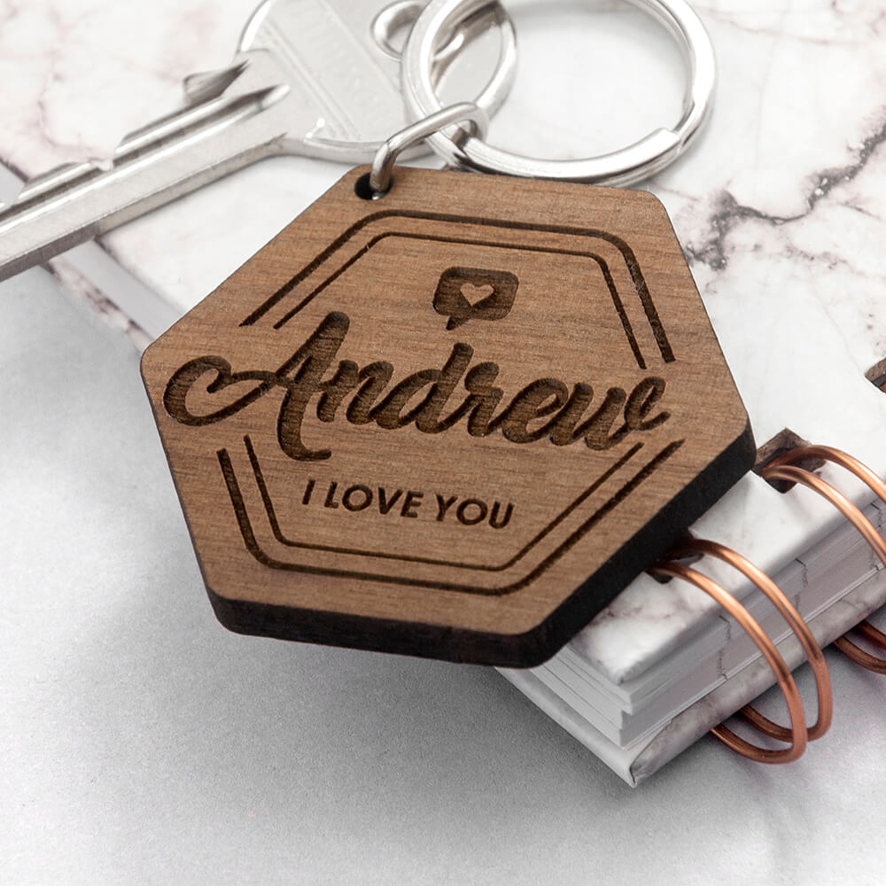 Personalised Wooden Key Ring – I Love You