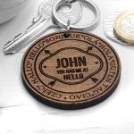 Personalised Wooden Key Ring – Hello