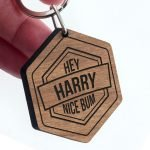 Personalised Wooden Key Ring – Cheeky Message