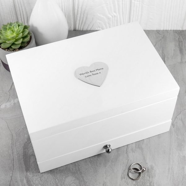 Personalised Luxe White Jewellery Box with Heart