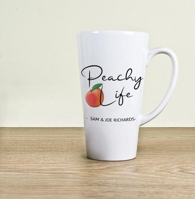 Personalised Peachy Life Latte Mug