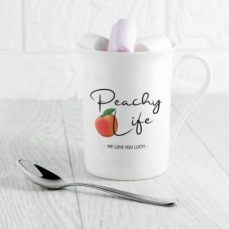 Personalised Peachy Life Bone China Mug