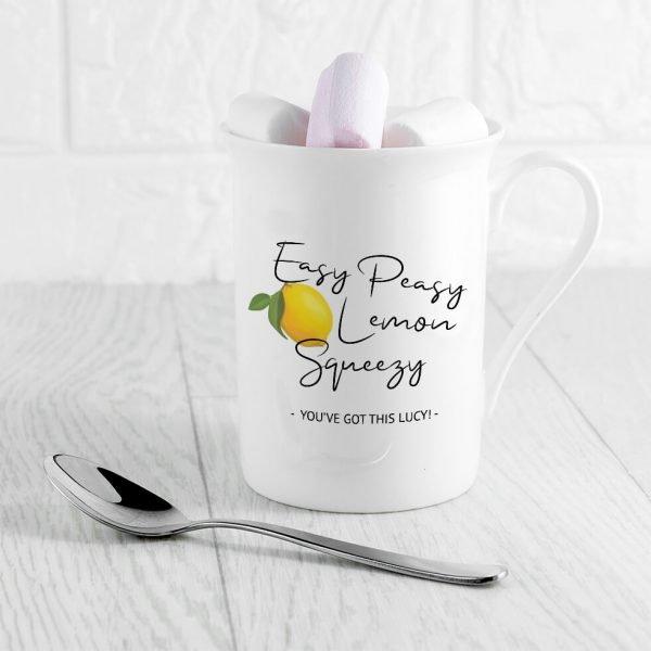 Personalised Easy Peasy Lemon Squeezy Bone China Mug