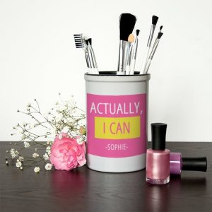 Personalised Make Up Brush Holder – Actually I Can