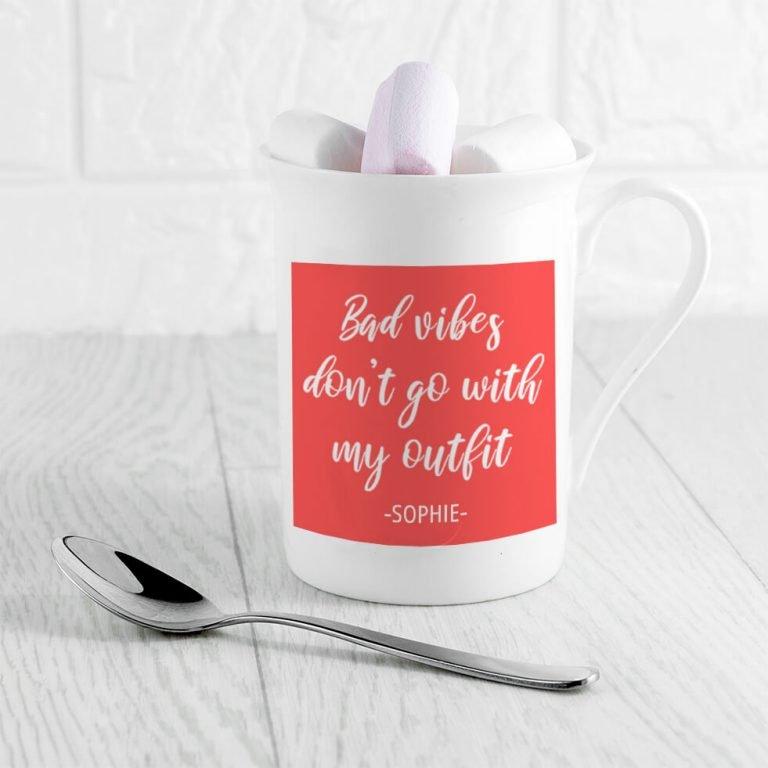 Personalised No Bad Vibes Bone China Mug