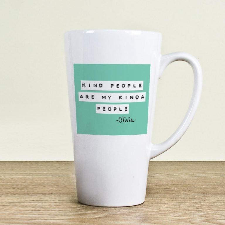 Personalised Kind People (Green) Latte Mug