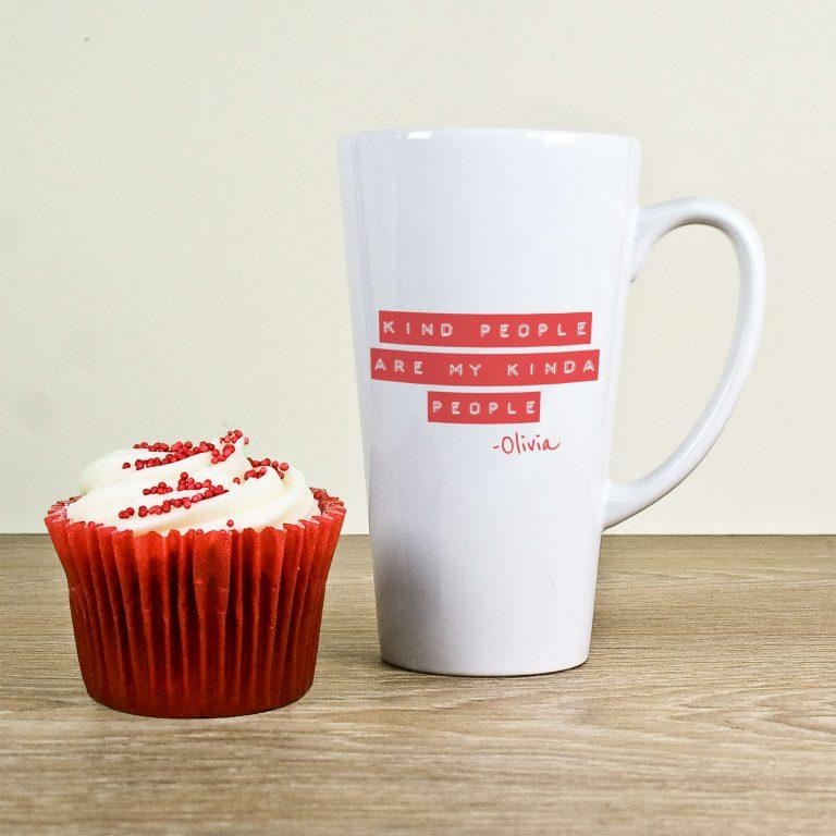 Personalised Kind People (Red) Latte Mug