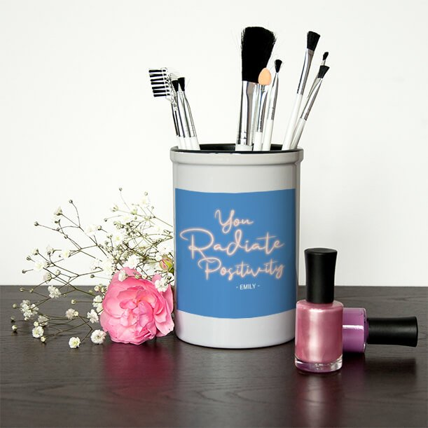 Personalised Make Up Brush Holder – Radiate Positivity