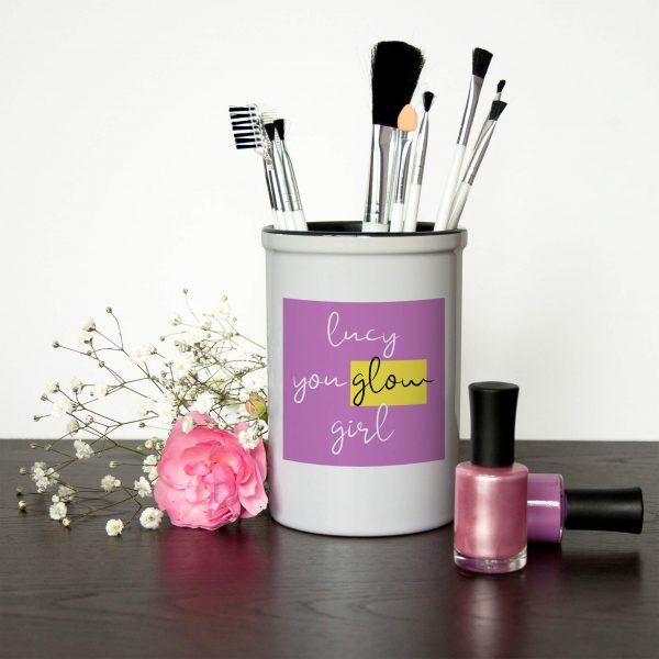 Personalised Make Up Brush Holder – You Glow Girl