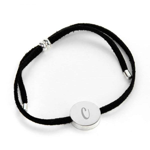 Personalised Always With You Silver & Black Bracelet – Initial