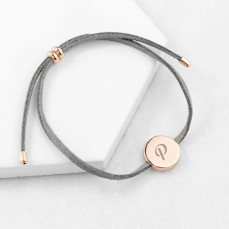 Personalised Always With You Grey & Rose Gold Bracelet – Initial