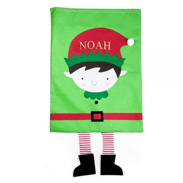 Personalised Christmas Elf Christmas Santa Sack