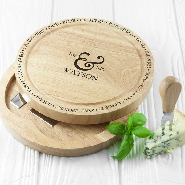 Personalised Cheese Board Set – Mr & Mrs