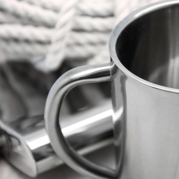 Personalised Outdoor Mug (Name) with Swirl Brackets Silver