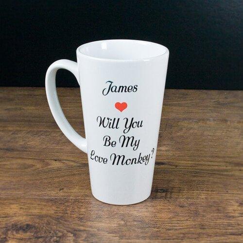 Personalised Love Monkey Romantic Mug