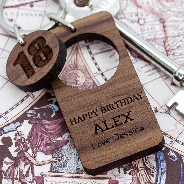 Personalised Wooden Key Ring – Happy Birthday (Walnut)