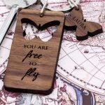 Personalised Wooden Key Ring – Butterfly