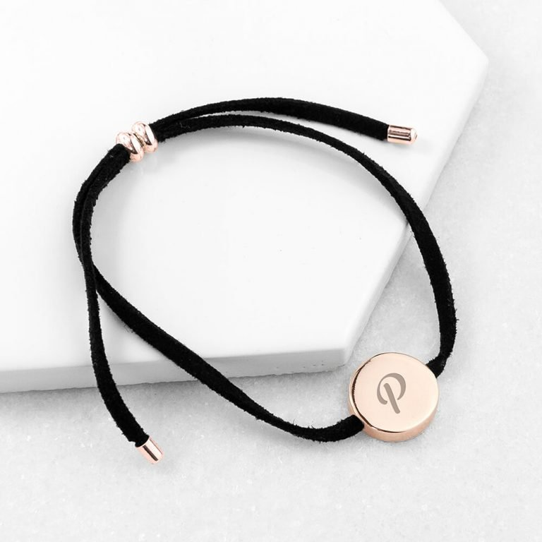 Personalised Always With You Rose Gold & Black Bracelet – Initial