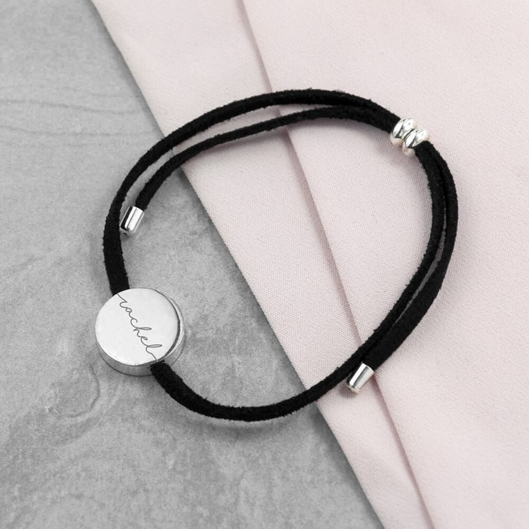 Personalised Always With You Silver & Black Bracelet – Name