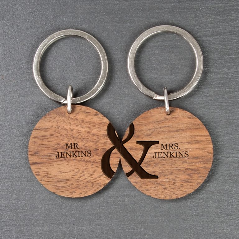 Personalised Wooden Key Ring – Couples Set of 2
