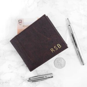 Personalised Natural VEGAN Leather Cork Wallet – Dark Brown