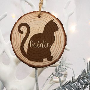 Personalised Engraved Cat Silhouette Christmas Tree Decoration