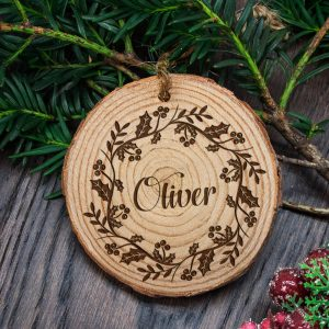 Personalised Engraved Holly Wreath Christmas Tree Decoration