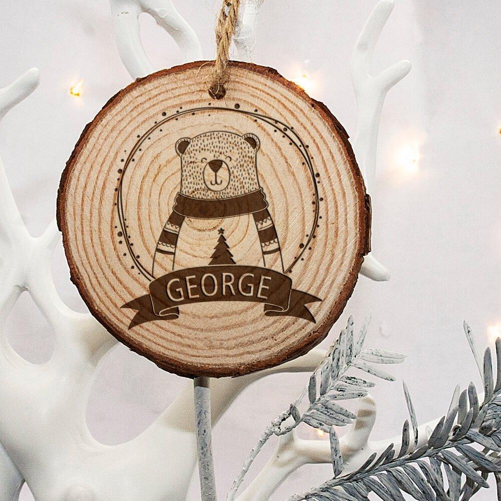 Personalised Engraved Polar Bear Christmas Tree Decoration