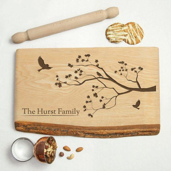 Personalised Rustic Wood Serving Board – Add Name