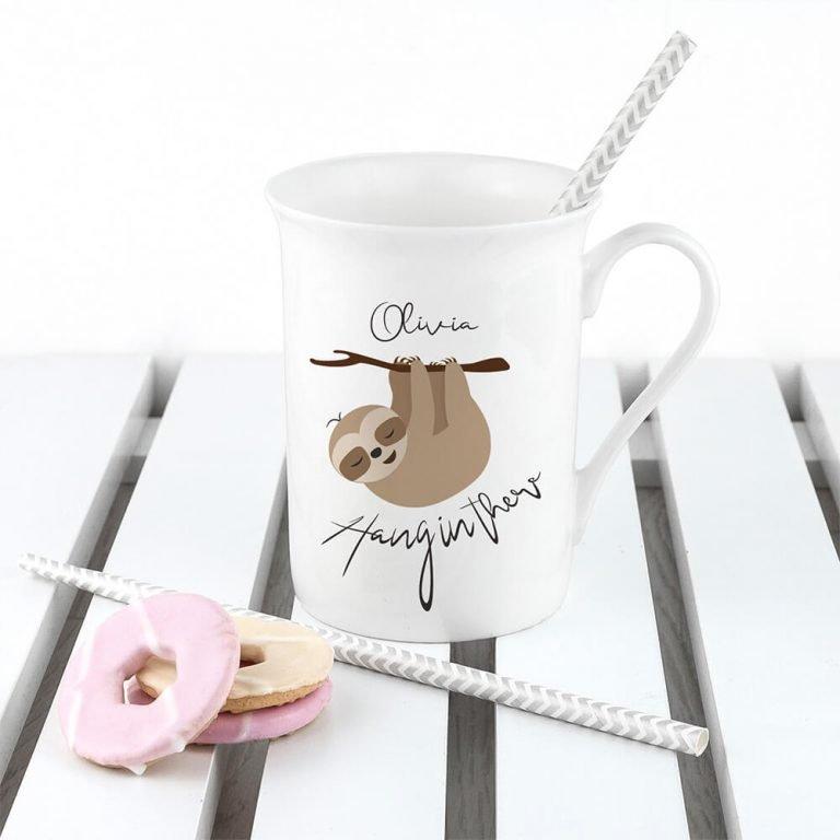 Personalised Hang In There Bone China Mug