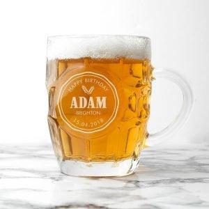 Personalised Beer Glass (Dimple) – Happy Birthday