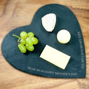 Personalised Slate Cheese Board – Your Message (Heart)