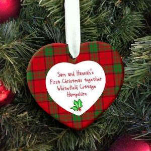 Personalised Holly Heart Christmas Decoration