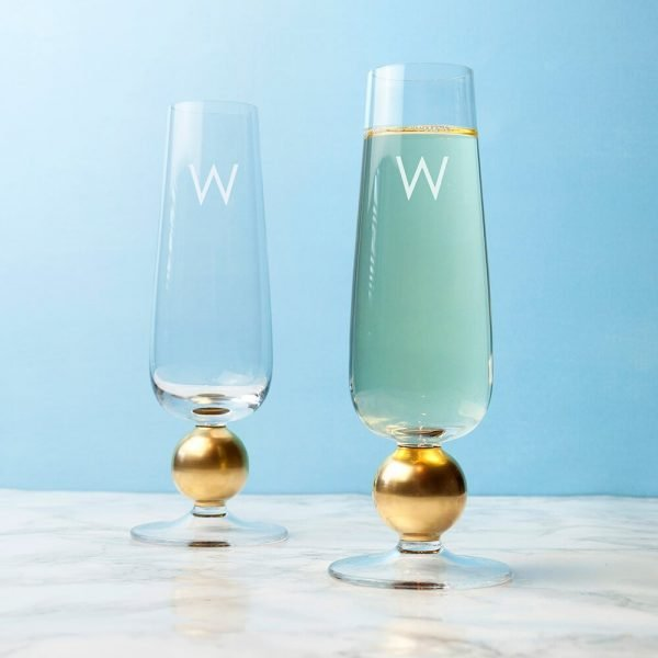 Personalised set of 2 Gold Champagne Glasses – Initial