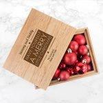 Personalised Oak Photo Keepsake Box – Merry Christmas (Medium)
